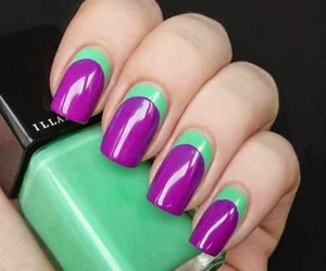 nails, purple, and green image