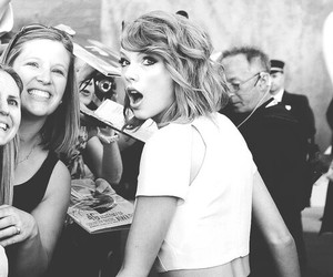 Taylor Swift, black and white, and fan image