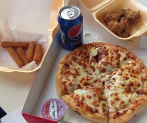 food, pizza, and Pepsi image