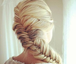 blond, fishtail, and plait image