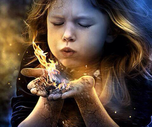 girl, fire, and magic image