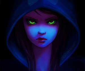 dark, blue, and eyes image