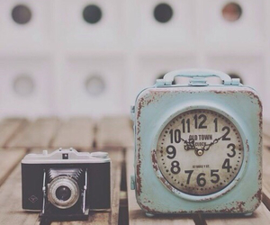 vintage, camera, and clock image