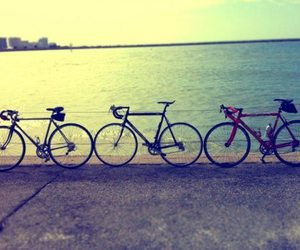 beach, bicycle, and bikes image