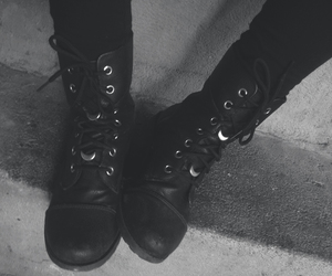 black, boots, and combat boots image