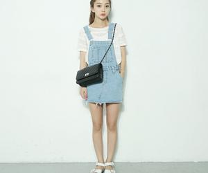 bag, blue, and girl image