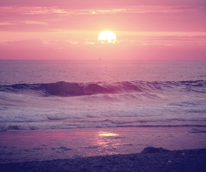sunset, beach, and sun image