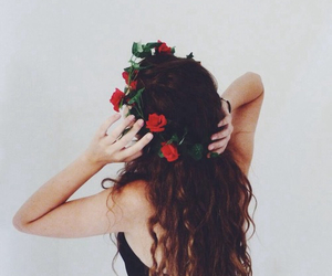 hair, girl, and flowers image