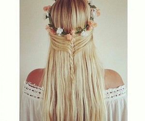 bonde, flower, and hair image