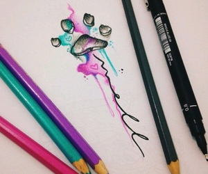 tattoo, footprint, and watercolor image