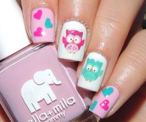 nail art, pink and green, and owl image