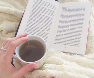 book, fashion, and tea image