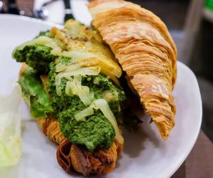croissant, egg, and sandwich image