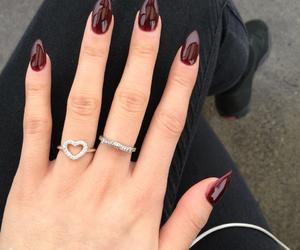 acrylics, pretty, and maroon nails image