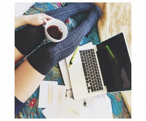 coffee, comfortable, and laptop image