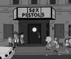 sex pistols, simpsons, and black and white image