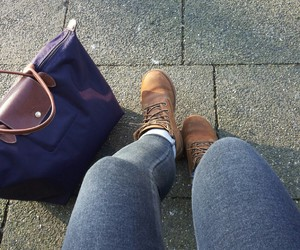 hollister, jeans, and timberlands image
