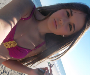 beach, beautiful, and brunette image