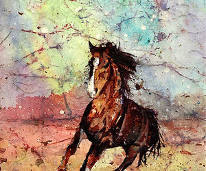 fine art, horse, and watercolor painting image