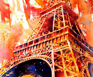 eiffel tower, painting, and watercolor image