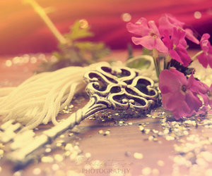 key, flowers, and photography image