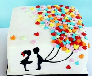 love, balloons, and cake image