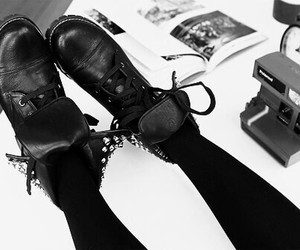 boots, black and white, and alternative image