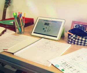 exam, tablet, and pencilcase image