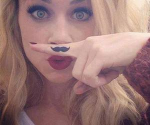 girl, mustache, and blonde image