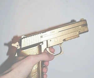 gun, gold, and grunge image