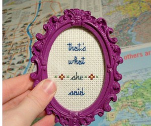 cross stitch, frame, and said image