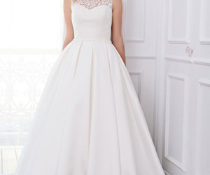 gown, wedding dress, and white image