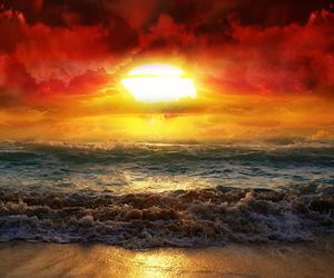 sunset, sun, and beach image