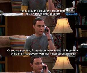 the big bang theory, pizza, and sheldon cooper image