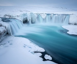 waterfall, ice, and snow image