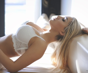 blond, lingerie, and white image