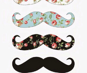 mustache, flowers, and moustache image