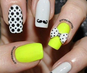 nails, yellow, and mustache image