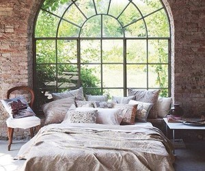 bedroom, bed, and window image