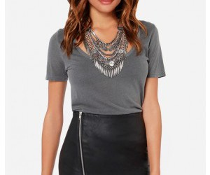 black leather skirt, asymmetrical skirt, and faux leather skirt image