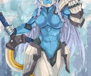 girl, sven, and big sword image
