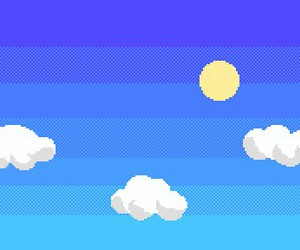 clouds, gif, and pixel image