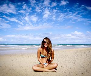 beach, sky, and bikini image