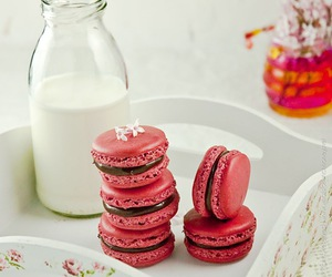 milk, macarons, and pink image