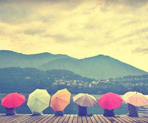 umbrella, friends, and rain image