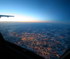 airplane, city, and beautifull image