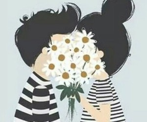 cartoon, couple, and flowers image