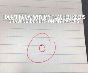 funny, donuts, and school image