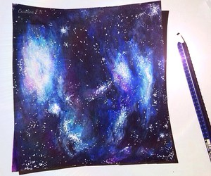 blue, drawing, and galaxy image