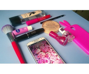 bunny, case, and cosmetics image